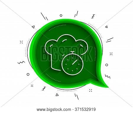 Cooking Timer Line Icon. Chat Bubble With Shadow. Frying Stopwatch Sign. Food Preparation Symbol. Th