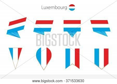Luxembourg National Flag Collection, Eight Versions Of Luxembourg Vector Flags. Vector Illustration.