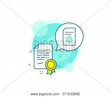 Information File With Cogwheel Sign. Certification Complex Icon. Document Management Line Icon. Pape