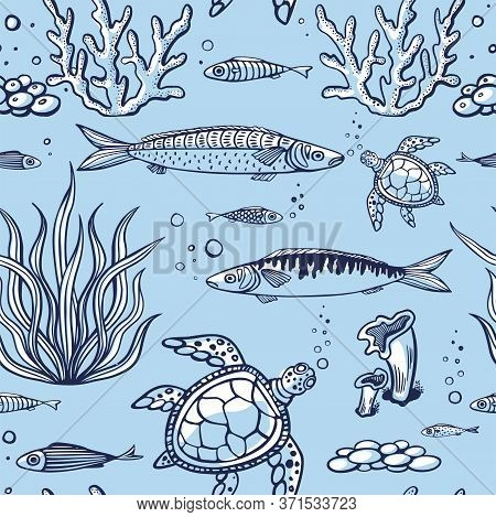 Seamless Pattern With Fish, Turtle, Corals, Marine Plants And Seaweed. Vintage Hand Drawn Vector Ill