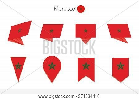 Morocco National Flag Collection, Eight Versions Of Morocco Vector Flags. Vector Illustration.