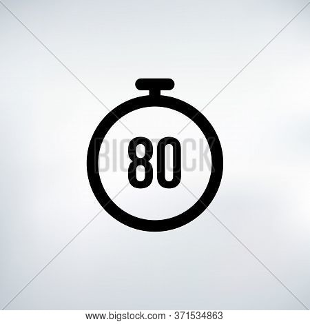 80 Seconds Countdown Timer Icon Set. Time Interval Icons. Stopwatch And Time Measurement. Stock Vect