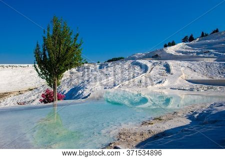 Pamukkale Turkish Mineral Calcium Pool. All Natural Objects Included In Unesco