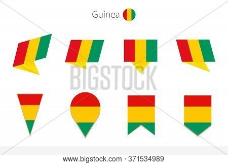 Guinea National Flag Collection, Eight Versions Of Guinea Vector Flags. Vector Illustration.