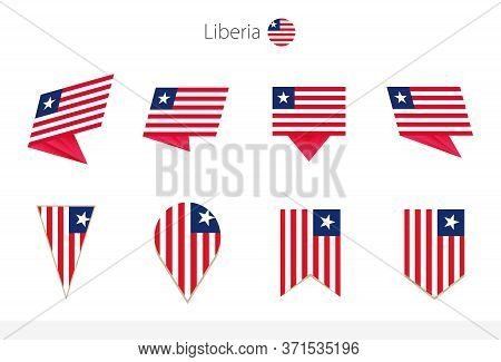 Liberia National Flag Collection, Eight Versions Of Liberia Vector Flags. Vector Illustration.
