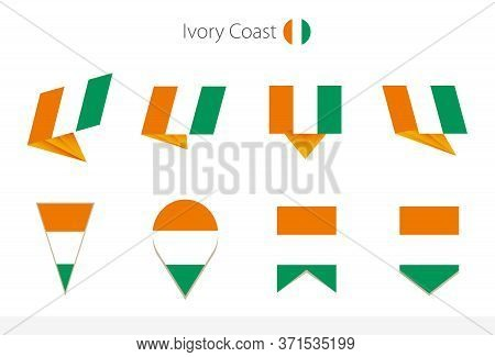 Ivory Coast National Flag Collection, Eight Versions Of Ivory Coast Vector Flags. Vector Illustratio