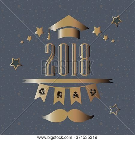 Sweet Pattern With Grad Ceremony 2018 Hand Drawn Scandinavian Style.