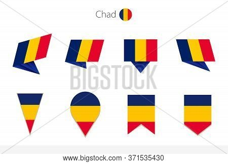 Chad National Flag Collection, Eight Versions Of Chad Vector Flags. Vector Illustration.