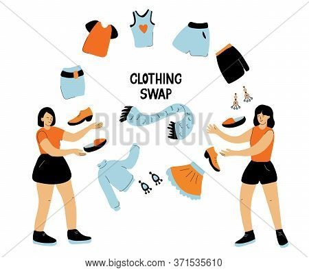 Clothing Swap. Hand Drawn Lettering And Vector Illustration Isolated On White Background. Friends Ex