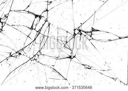 Broken Glass Texture. Black Cracks On A White Background