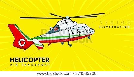 Helicopter - Vector Rescue Helicopter Pop Art Style. Hand Drawn Comic Book Imitation Vector