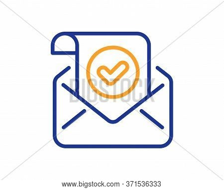 Confirmed Mail Line Icon. Approved Email Letter Sign. Verified Correspondence Symbol. Colorful Thin