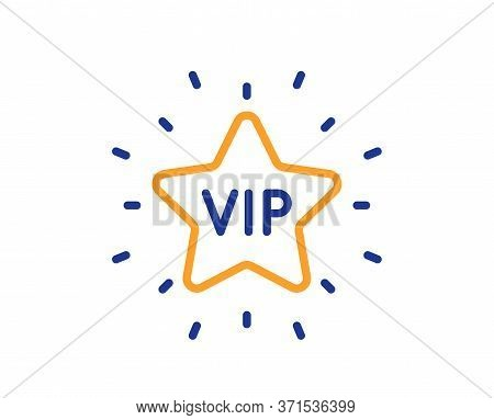 Vip Line Icon. Very Important Person Star Sign. Member Club Privilege Symbol. Colorful Thin Line Out