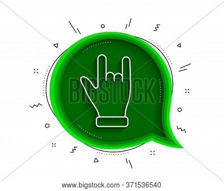 Horns Hand Line Icon. Chat Bubble With Shadow. Two Fingers Palm Sign. Gesture Symbol. Thin Line Horn
