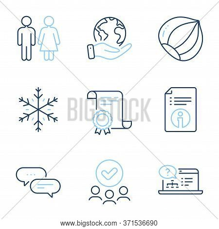 Hazelnut, Restroom And Online Help Line Icons Set. Diploma Certificate, Save Planet, Group Of People