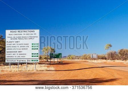 Warning Sign On Plenty Hwy In Australia