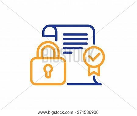 Security Contract Line Icon. Cyber Defence Lock Sign. Private Protection Symbol. Colorful Thin Line