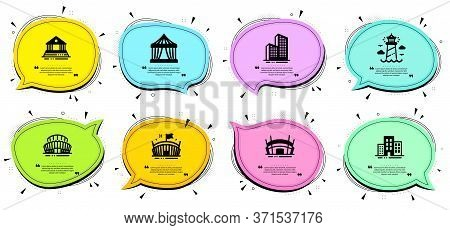 Sports Stadium, Court Building And Circus Tent Signs. Chat Bubbles With Quotes. Arena Stadium, Light