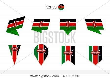 Kenya National Flag Collection, Eight Versions Of Kenya Vector Flags. Vector Illustration.