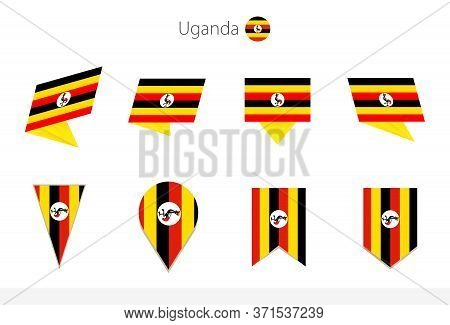 Uganda National Flag Collection, Eight Versions Of Uganda Vector Flags. Vector Illustration.