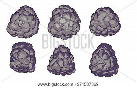 Cartoon Stones Formation Collection. Rock Blocks Vector Design. Isolated Rubble Piles Set. Illustrat
