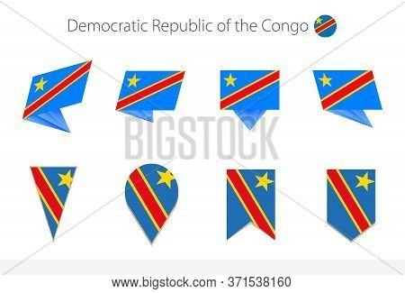 Dr Congo National Flag Collection, Eight Versions Of Dr Congo Vector Flags. Vector Illustration.