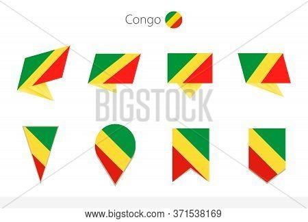 Congo National Flag Collection, Eight Versions Of Congo Vector Flags. Vector Illustration.