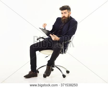 Paper Work Concept. Manager Sits In Office Chair And Has Paper Work