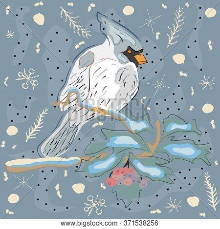 Cute Hand Drawn Winter Pattern With Cardinal. Seamless Pattern. Illustration