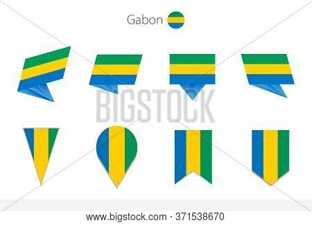 Gabon National Flag Collection, Eight Versions Of Gabon Vector Flags. Vector Illustration.