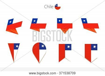 Chile National Flag Collection, Eight Versions Of Chile Vector Flags. Vector Illustration.