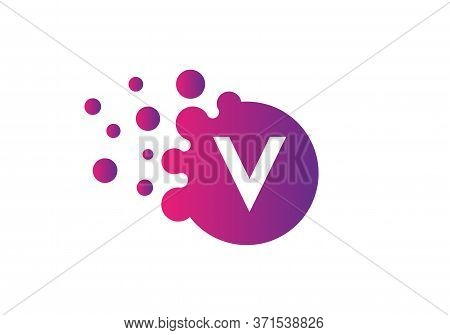 Dots Letter V Logo. V Letter Design Vector With Dots And Colorful Modern Trendy Vector