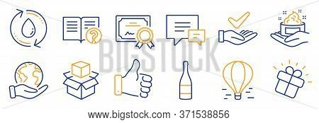 Set Of Business Icons, Such As Refill Water, Like Hand. Certificate, Save Planet. Champagne Bottle,