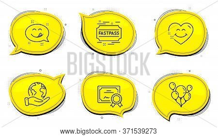 Fastpass Sign. Diploma Certificate, Save Planet Chat Bubbles. Smile Face, Yummy Smile And Balloons L