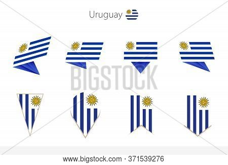 Uruguay National Flag Collection, Eight Versions Of Uruguay Vector Flags. Vector Illustration.
