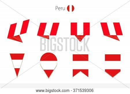 Peru National Flag Collection, Eight Versions Of Peru Vector Flags. Vector Illustration.