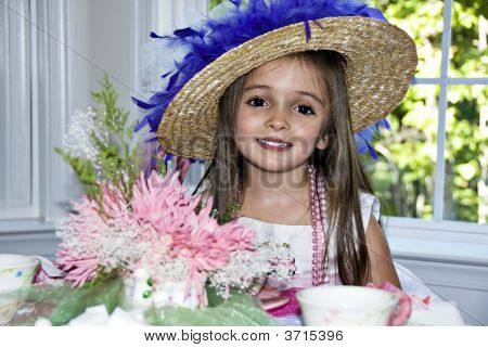 Little Girl With Tea Party Hat