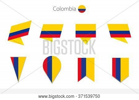 Colombia National Flag Collection, Eight Versions Of Colombia Vector Flags. Vector Illustration.