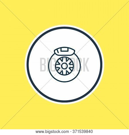Vector Illustration Of Car Brake Shoe Icon Line. Beautiful Vehicle Element Also Can Be Used As Tyre