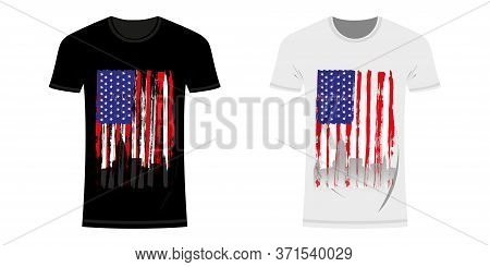 Graphic Design T-shirt With Flag And City Skyline Of Usa And New York And Grunge Texture. Usa And Ne