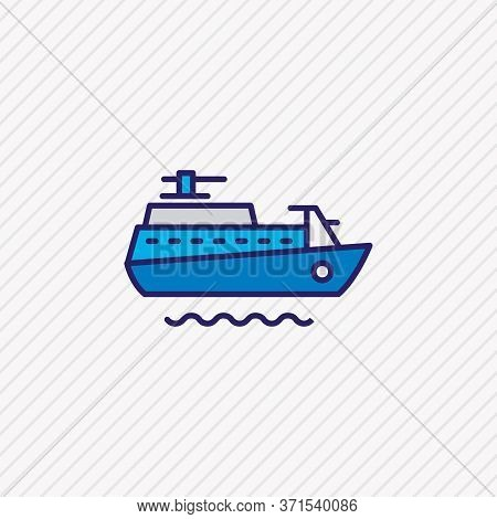 Vector Illustration Of Ship Icon Colored Line. Beautiful Marine Element Also Can Be Used As Vessel I