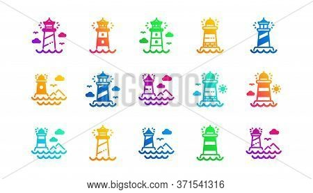 Searchlight Tower With Seagull For Marine Navigation Of Ships. Lighthouse Icons. Sea Pharos, Lightho