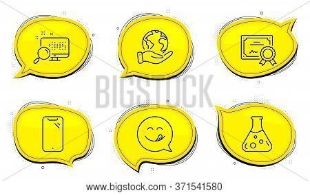 Yummy Smile Sign. Diploma Certificate, Save Planet Chat Bubbles. Chemistry Lab, Smartphone And Searc