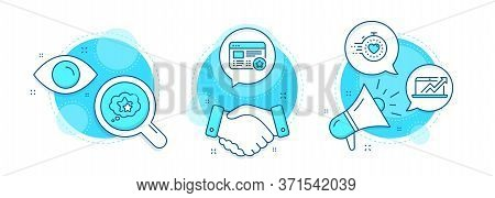 Sales Diagram, Ranking Stars And Timer Line Icons Set. Handshake Deal, Research And Promotion Comple