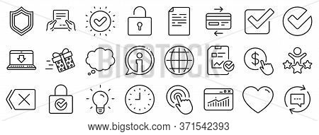 Statistics, Gift Box And Light Bulb Icons. Report Document, Time Line Icons. Credit Card, Download D