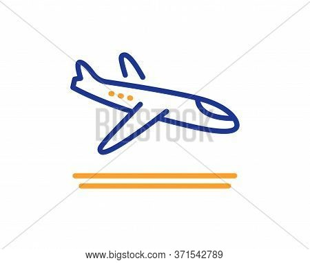 Airport Arrivals Plane Line Icon. Airplane Landing Sign. Flight Symbol. Colorful Thin Line Outline C
