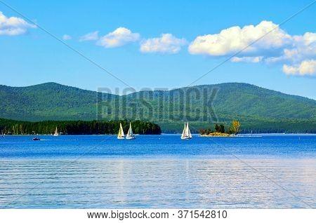 Summer landscape of Turgoyak lake in Southern Urals, Russia, summer landscape scene. Summer vacation background, summer travel landscape