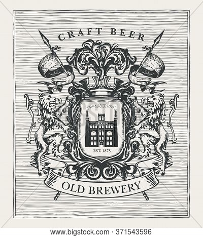 Hand-drawn Banner With Coat Arms For Old Brewery And Craft Beer. Suitable For Brewery, Pub And Bar D