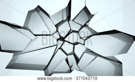Computer Generated Destructed Wall And Falling Down Fragments. Abstract 3d Rendering Of A Broken Bac