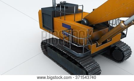 The Powerful Mining Excavator, Computer Generated. 3d Rendering Of Engineering Equipment. Industrial